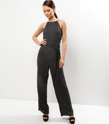 Cameo Rose Black Polka Dot Jumpsuit  | New Look