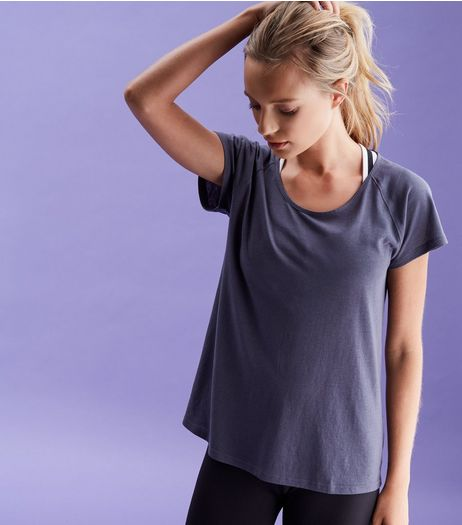 Grey Bar Back Mesh Sports T-Shirt | New Look