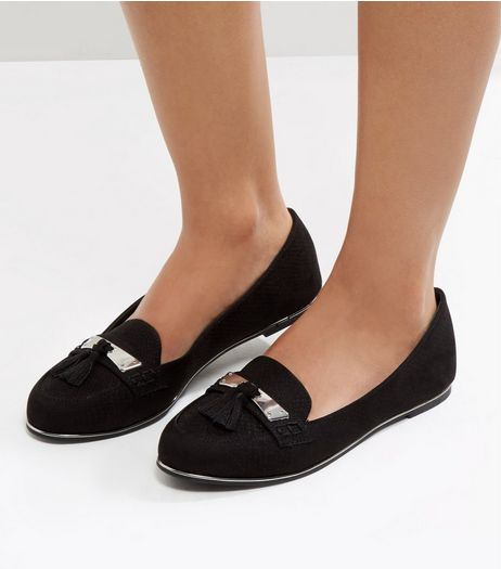 Black Suedette Metal Trim Tassel Front Loafers | New Look