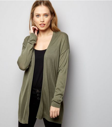 Olive Green Long Sleeve Cardigan | New Look