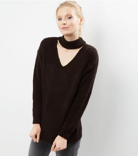 Black Choker Neck Knitted Jumper | New Look