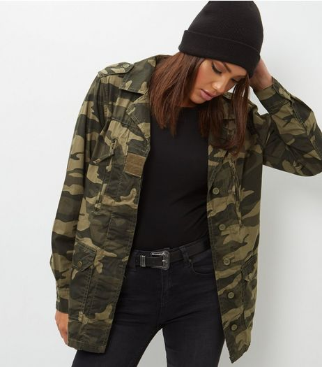 Parisian Greem Camo Print Jacket | New Look
