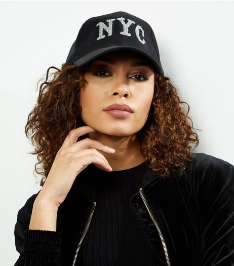 Black Sequin NYC Cap | New Look