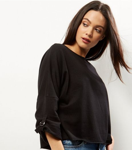 Black D-Ring Trim Batwing Sleeve Sweater  | New Look