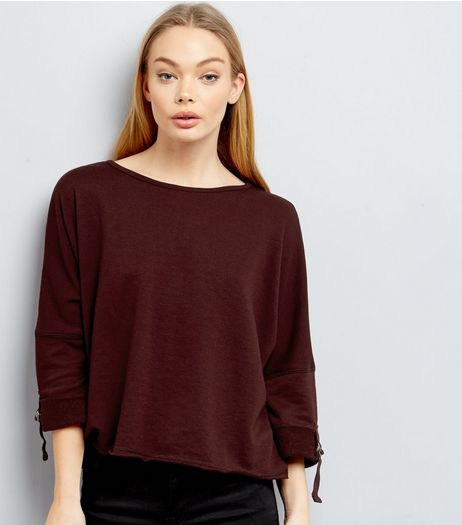 Burgundy D Ring Rolled Batwing Sleeve Sweater | New Look