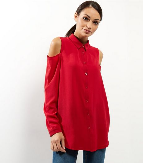 Red Cold Shoulder Long Sleeve Shirt | New Look