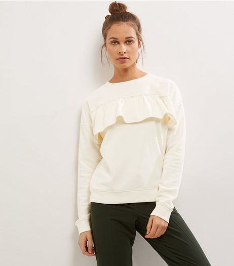 Cream Frill Trim Long Sleeve Sweater  | New Look