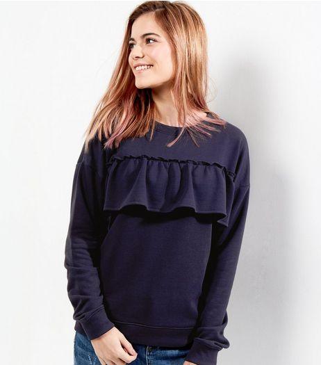 Navy Frill Trim Long Sleeve Sweater  | New Look