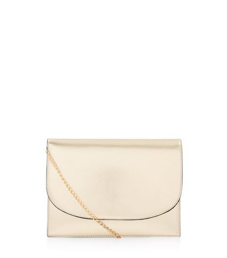 Gold Metallic Foldover Clutch | New Look