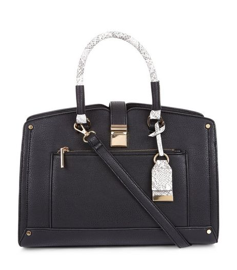 Black Colour Block Snakeskin Handle Tote Bag | New Look