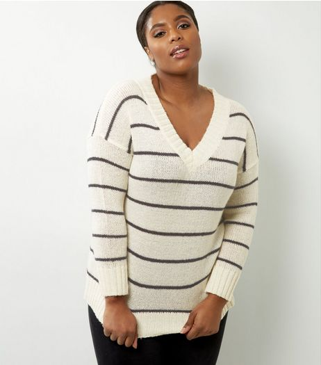 Curves White Stripe V Neck Jumper | New Look