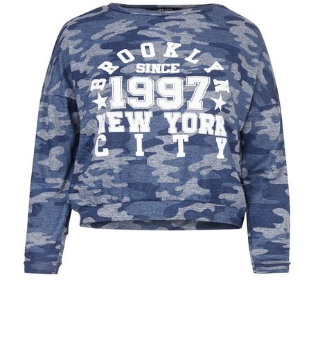Teens Blue Camo Baseball Sweater | New Look