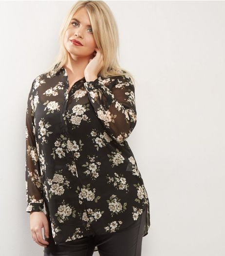 Curves Black Floral Chiffon Longline Shirt  | New Look