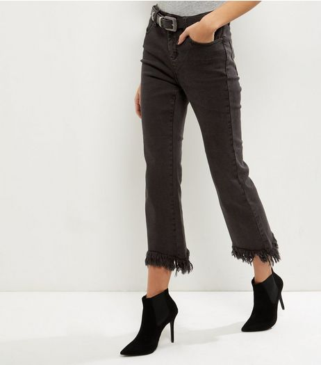 Black Fray Hem Flared Jeans  | New Look