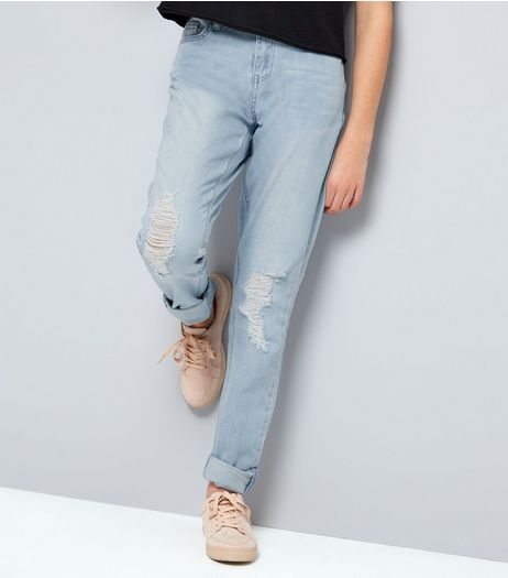 Teens Blue Ripped Knee Rolled Hem Skinny Jeans | New Look