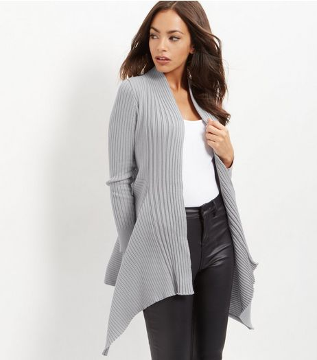 Apricot Dark Grey Ribbed Waterfall Cardigan | New Look