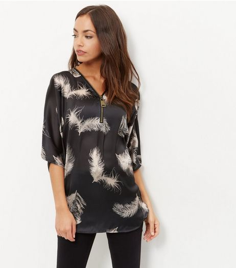 Apricot Black Feather Print Batwing Sleeve Top | New Look