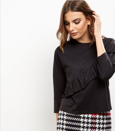 Black Frill Trim Long Sleeve T-Shirt  | New Look