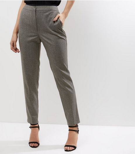 Dark Grey Flecked Slim Leg Trousers | New Look
