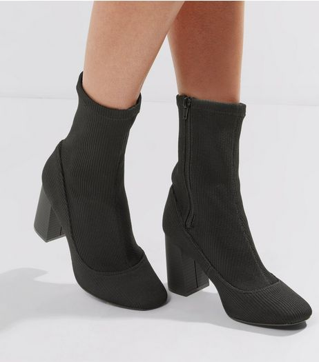 Black Ribbed High Ankle Boots | New Look