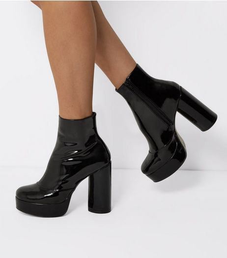 Black Patent Platform Heeled Boots | New Look