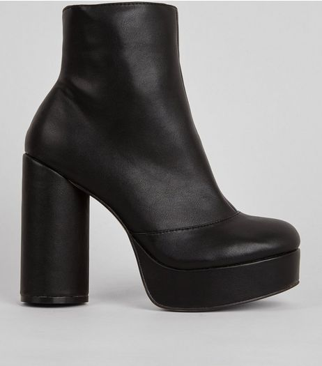 Black Platform Heeled Boots | New Look