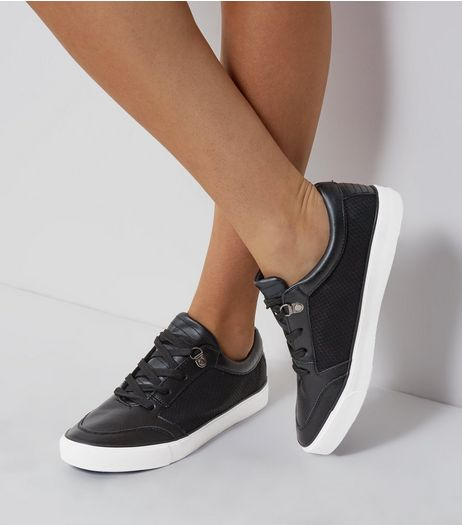 Black Lace Up Contrast Sole Trainers | New Look