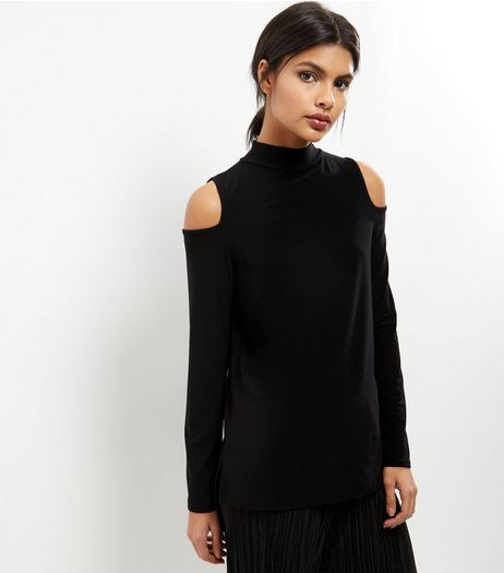 Black Cold Shoulder Funnel Neck Top  | New Look