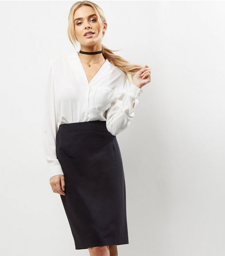 Black Suit Split Back Midi Skirt  | New Look