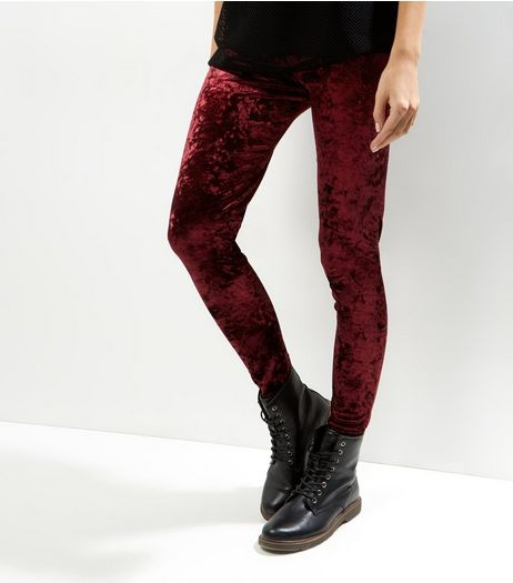 Burgundy Crushed Velvet Leggings | New Look