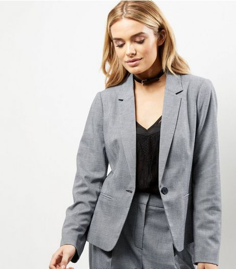 Grey Check Suit Jacket  | New Look