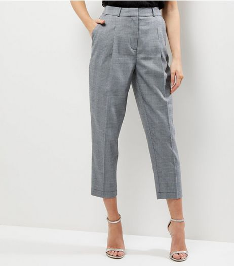 Grey Check Cropped Trousers  | New Look