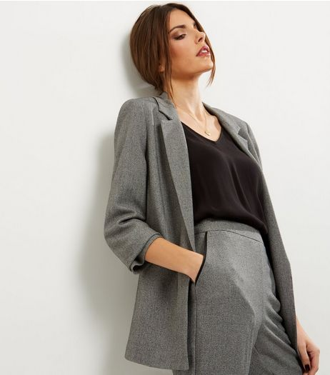 Grey Ruched Sleeve Blazer  | New Look