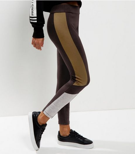Black Colour Block Side Panel Leggings | New Look