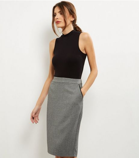 Grey Contrast Trim Double Pocket Midi Pencil Skirt  | New Look
