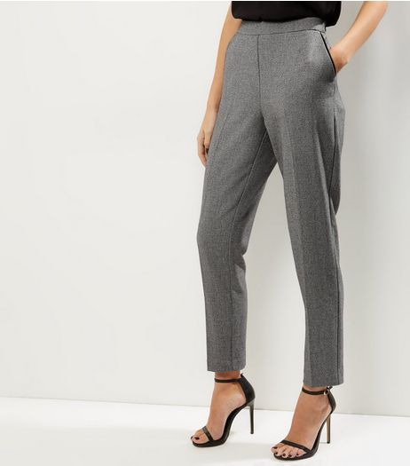 Grey Contrast Trim Double Pocket Slim Leg Trousers  | New Look