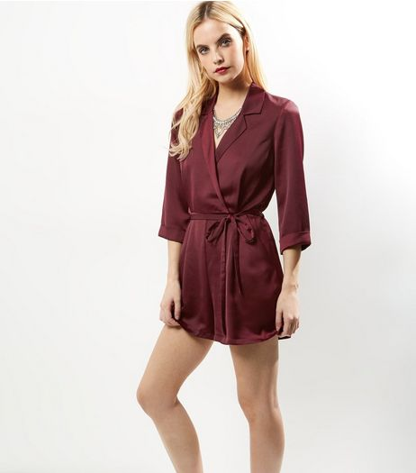Petite Burgundy Sateen Wrap Front Playsuit | New Look