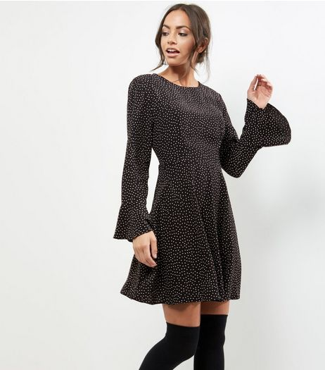 Black Spot Print Bell Sleeve Skater Dress | New Look