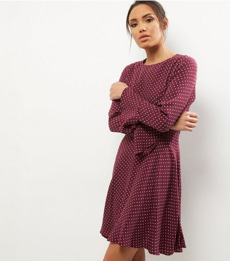 Red Polka Dot Print Bell Sleeve Skater Dress | New Look