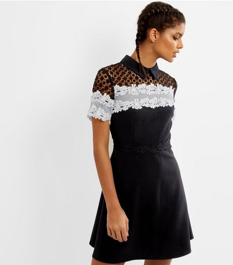 Black Premium Contrast Lace Panel Skater Dress | New Look