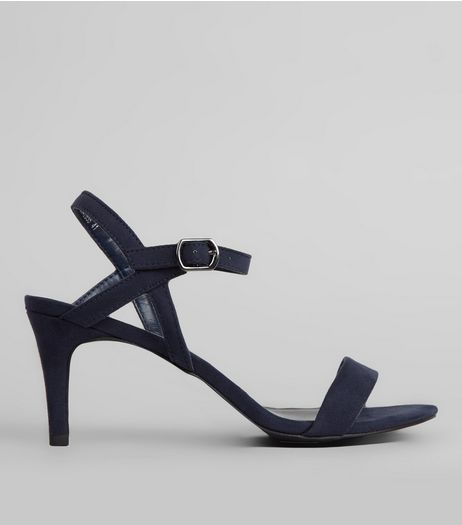 Navy Suedette Heeled Sandals | New Look