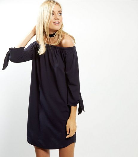 Navy Tie Sleeve Bardot Neck Dress | New Look