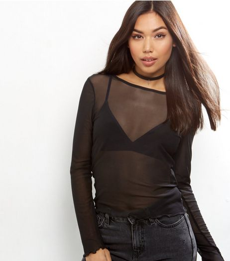 Black Mesh Frill Hem Long Sleeve Top | New Look