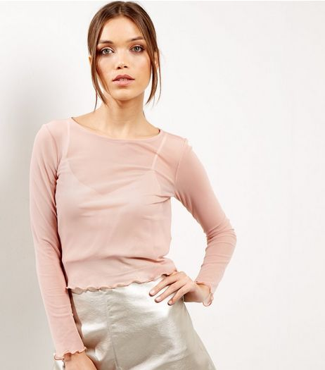 Pink Mesh Frill Hem Long Sleeve Top | New Look