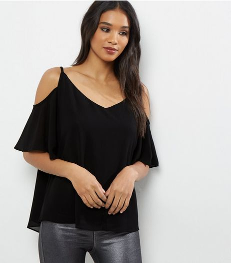 Black Cross Strap Front Cold Shoulder Top  | New Look