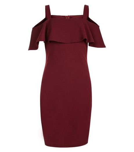 Teens Burgundy Bardot Neck Frill Trim Bodycon Dress | New Look
