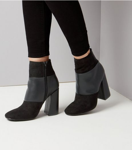 Black Suedette Contrast Panel Flared Heeled Boots | New Look