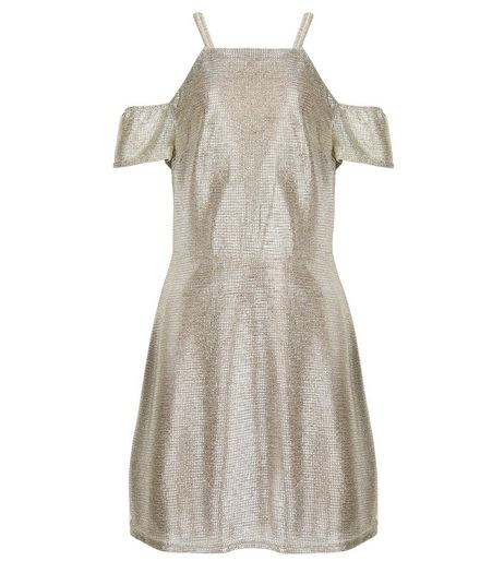 Teens Gold Metallic Cold Shoulder Dress | New Look