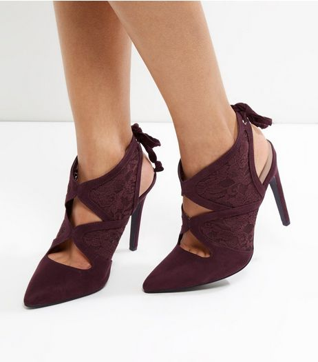 Wide Fit Dark Purple Suedette Lace Cut Out Tie Back Heels | New Look