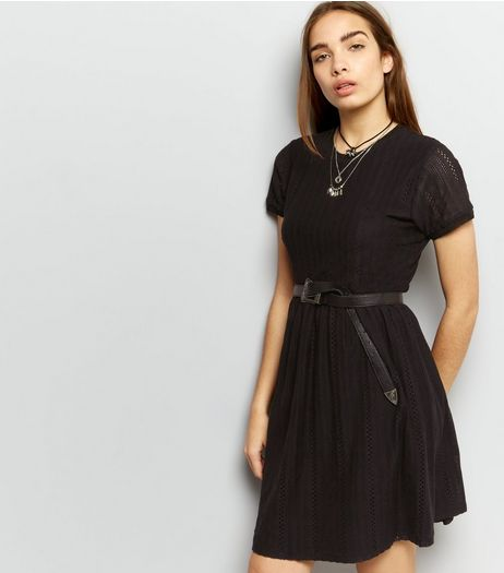 Black Cut Out Short Sleeve Short Sleeve Skater Dress | New Look